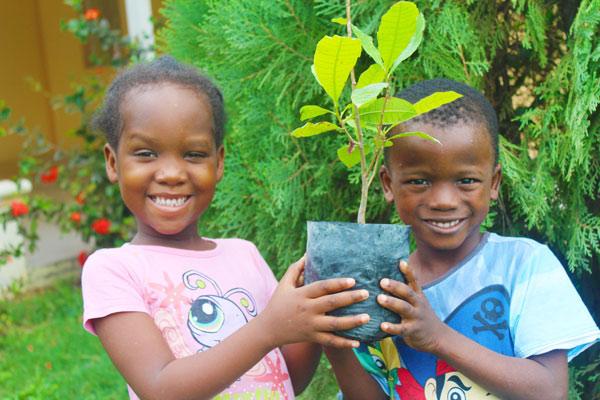 Twee kinderen uit Haïti die een plant vasthouden